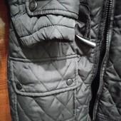 Стёганая черная куртка, весна- осень , размер 34, на рост 140-152