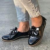 Лаковые туфли/макасины с шикарным декором. 36,37,38.