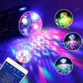 Диско шар с переходником для мобильного, светодиодная лампа, светомузыка.