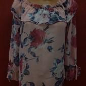 Милая блуза в цветы рюши валаны на рукавах бант