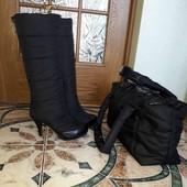 зимові чоботи + сумка велика вмістима. 37/38