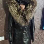 Натуральная зимняя кожаная куртка с мехом чернобурки