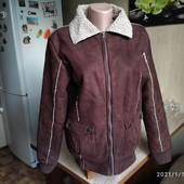 Собирай лоты) Красивенная демисезонная дубленка куртка 46-48 р ( цвет коричневый с переливом)