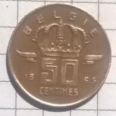 Монета Бельгии 50 сентимес 1965