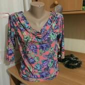 #177 красивая блуза, 3/4 рукав! Яркая!