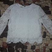 р.152 Нарядная ажурная блузка белая. плотное кружево