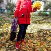 Пуховик натуральный зимний красный 42-44-46 М