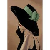 """Алмазная вышивка """"Девушка в шляпе"""" Полная выкладка 30*39"""