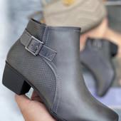 Ботинки полусапоги с ремешком 36 37 38 40 41. Цвет графит.