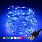 Распродажа!!!!Гирлянда Роса, на батарейках и USB, 5 метров, цвет синий