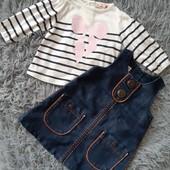 Джинсовый сарафан 3-6 месяцев + блузка