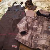 Куртка +комбез+шапка+ботинки на 9-11 лет