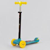 Крутой самокат для детей от 3 лет до 60 кг Колёса широкие все светятся Фара на руле Новый в коробке