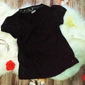 Черная гипюровая футболка Street one, размер М