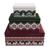 Набор красивых жестяных коробок для хранения печенья и конфет Ernesto металлические 3 шт