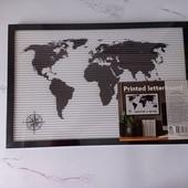 """Декоративная рамка """"Карта мира"""" с символами еdeka черный-белый"""