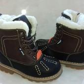 Высокие зимние ботиночки на шерсти 29р.