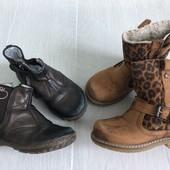 2 пары демисезонных ботинок для девочки р.24 и р.25