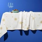 155*280! Шикарная плотная праздничная скатерть с золотыми узорами Tchibo