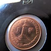 монета в холдере с хвостом Остров Мэн 1 пенни, 2016