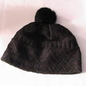 шапка с помпоном на флисе 57/58 ажурная вязка - помпон на выбор