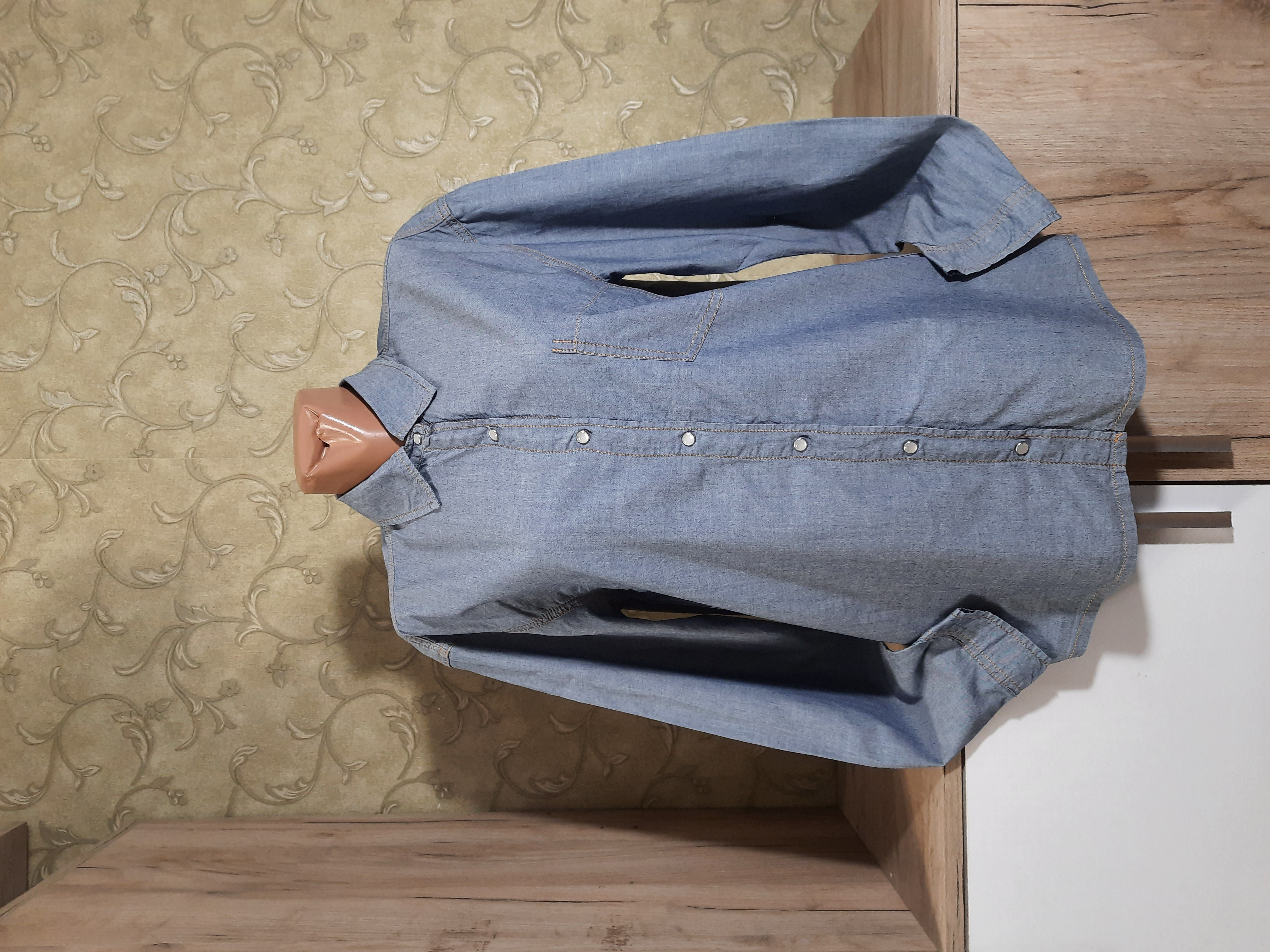 Собираем лоты!! Джинсовая рубашка, размер s,100%котон