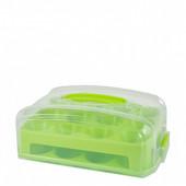 Контейнер для маффинов (23*16см) PeaPromoplast салатовый-прозрачный на 24 шт