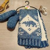 Англия!!! Крутой набор: зимний шарф и варежки для мальчика! 1-2 года!