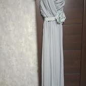Фирменное новое красивое шифоновое платье с цветком на поясе р.8-12