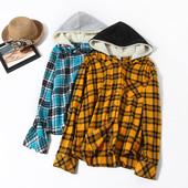 Модная рубашка фланель,с капюшоном, фирма no bo на выбор!