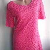 Нарядное розовое платье Next, евро размер 12/40-наш 46, хлопок