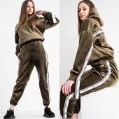 Женский спортивный велюровый костюм на флисе. Размер L.
