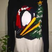 """Тепла кофта з пінгвіном на лижах від """"Next"""".Розмір М."""