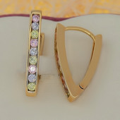 новинка! шикарные серьги-стрелы с разноцветными фианитами, длина 2.4 см, позолота 585 пробы