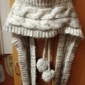 Крутяцкий нежный пончо капюшон с шарфом New Look р.1\универсальный\не ношен\