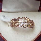 Красивая новинка ,кольцо с резным узором и фианитами позолота 18К, размер 19