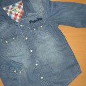 Джинсовая рубашка для девочки, на 4 года,на рост104
