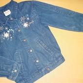 Джинсовая куртка для девочки (джинс блестящий). Размер 128