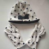 Флисовый набор шапка и перчатки