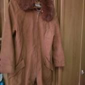 Куртка кожаная, б/у, рыжая