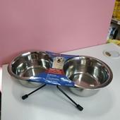 Миска двойная на подставке для кормления животных, Trixie 2 на 0,45 л./ 12 см.