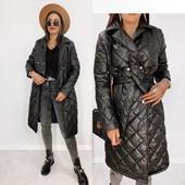 Замеры. Демисезонное стеганное пальто черное под пояс 42 44 46 48