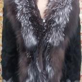 Меховая куртка - полушубок, козочка - чернобурка, размеры м, l