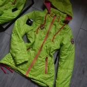 Неон куртка приталеная весна на тонком утеплителе чит.опис