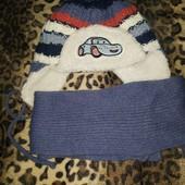 Теплая шапочка с шарфом,в идеальном состоянии!!