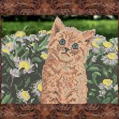 """Схема для вишивки бісером """"Кошеня у квітах"""""""