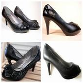 Супер цена! Туфли 4 модели с открытым носком! Удобные! 36-40.