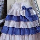 Сарафан-платье в новом состоянии на 7-8лет. Натуральная ткань 97%хлопка.