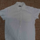 мужская белая рубашка с коротким рукавом leoson