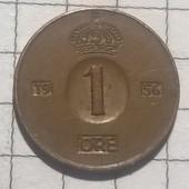 Монета Швеции 1 эре 1956